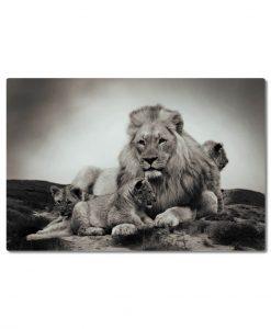 canvastaulu leijona ja pennut